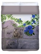 Blossoms Along The Wall Duvet Cover by Linda Feinberg