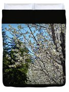 Blossoms And The Bard Duvet Cover