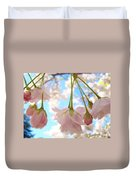 Blossoms Art Prints 52 Pink Tree Blossoms Nature Art Blue Sky Duvet Cover