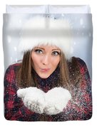 Blowing Snow In Winter Duvet Cover