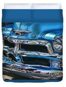 Blue And Chrome Chevy Pickup Front End Duvet Cover