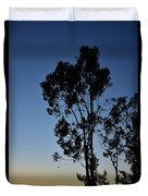 Blue And Gold Sunset Tree Silhouette I Duvet Cover