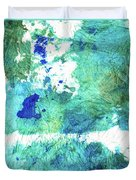 Blue And Green Abstract - Imagine - Sharon Cummings Duvet Cover