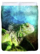 Blue And Green Iguana Profile Duvet Cover