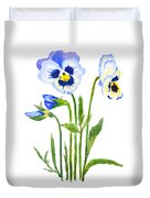 Blue And Purple Pansies  Duvet Cover