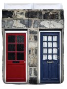 Blue And Red Doors Duvet Cover