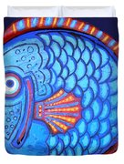 Blue And Red Fish Duvet Cover