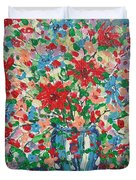 Blue And Red Flowers. Duvet Cover