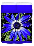 Blue And White African Daisy Duvet Cover