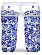 Blue And White Chinoiserie Vases Duvet Cover