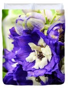 Blue And White Delphiniums Duvet Cover