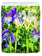 Blue And White Iris Duvet Cover