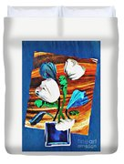 Blue And White Tulips Duvet Cover