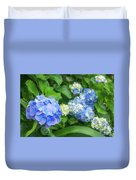 Blue And Yellow Hortensia Flowers Duvet Cover