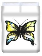 Blue And Yellow Watercolor Butterfly Duvet Cover