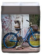 Blue Bicycle Duvet Cover