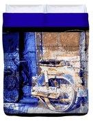 Blue Bike Abandoned India Rajasthan Blue City 2c Duvet Cover