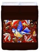 Blue Bird Leaves Duvet Cover