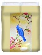 Blue Bird On Cherry Blossom  Duvet Cover