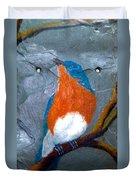 Blue Bird On Slate Duvet Cover