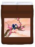 Blue Birds And Plum Blossoms #48 Duvet Cover