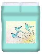 Blue Birds In Flight Duvet Cover