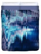 blue blurred abstract background texture with horizontal stripes. glitches, distortion on the screen broadcast digital TV satellite channels Duvet Cover