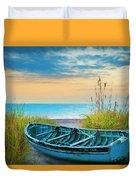Blue Boat At Dawn Watercolors Painting Duvet Cover