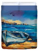 Blue Boat On The Mediterranean Beach Duvet Cover