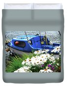 Blue Boat With Daisies Duvet Cover