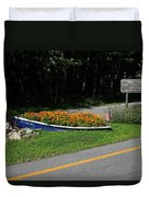 Blue Boat With Orange Flowers Duvet Cover