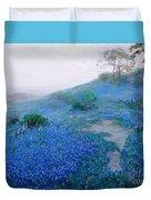 Blue Bonnet Field Early Morning Duvet Cover