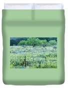 Blue Bonnets,poppies And Willow Tree 2 Duvet Cover
