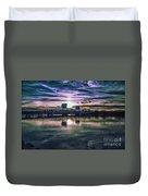 Blue Bridge At Sunset Duvet Cover