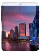 Blue Bridge Red Sky Jacksonville Skyline Duvet Cover by Debra and Dave Vanderlaan