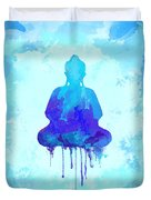 Blue Buddha Watercolor Painting Duvet Cover