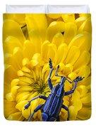 Blue Bug On Yellow Mum Duvet Cover