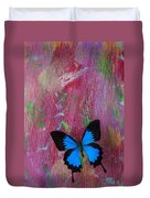 Blue Butterfly On Colorful Wooden Wall Duvet Cover