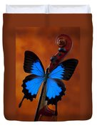 Blue Butterfly On Violin Duvet Cover