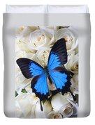 Blue Butterfly On White Roses Duvet Cover