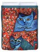 Blue Cats Duvet Cover