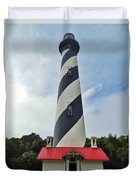 Blue Clouds At The Lighthouse Duvet Cover