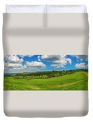 Blue Cloudy Sky Over Green Hills And Country Road Duvet Cover