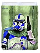 Blue Commander Stormtrooper At Work - Da Duvet Cover