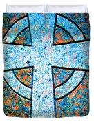Blue Marbled Cross Duvet Cover