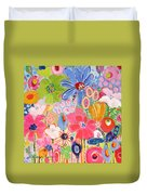 Blue Daisy Flower Garden Duvet Cover