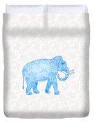 Blue Damask Elephant Duvet Cover