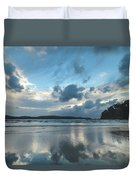 Blue Dawn Seascape With Cloud Reflections Duvet Cover