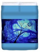 Blue Depth Abstract Original Acrylic Landscape Moon Painting By Megan Duncanson Duvet Cover