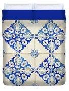 Blue Diamond Flower Tiles Duvet Cover